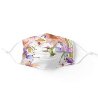 Watercolor Floral with Hummingbird Adult Cloth Face Mask