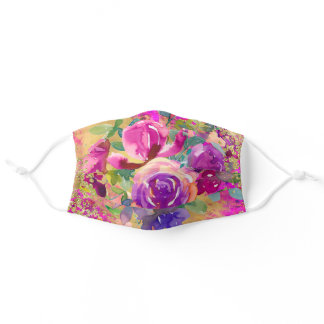 Watercolor Flower Bouquet on Raspberry Pink Adult Cloth Face Mask
