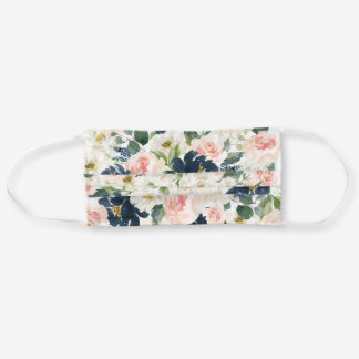 Watercolor Flower Face Mask - Navy and Blush