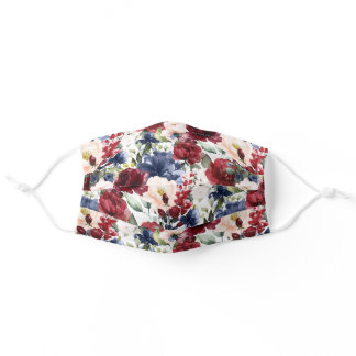Watercolor Flowers Navy Blue Blush Marsala Red Adult Cloth Face Mask