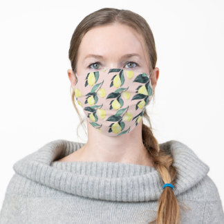 Watercolor Lemons & Leaves Yellow Seamless Pattern Adult Cloth Face Mask