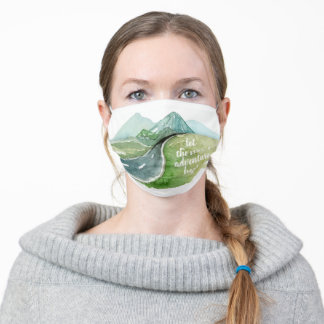 Watercolor Nature Let's The Next Adventure Begin Adult Cloth Face Mask