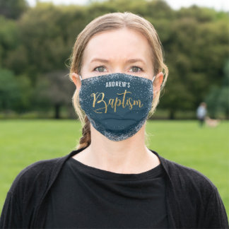 Watercolor Navy And Gold Boy Baptism  Adult Cloth Face Mask