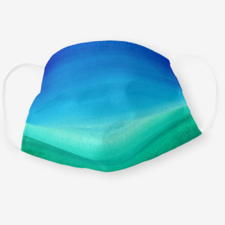 Watercolor Ocean Blue Green Ombre Beach Cloth Face Mask