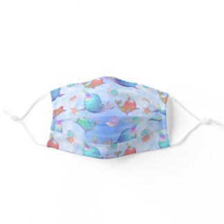 Watercolor Ocean Narwhal Adult Cloth Face Mask
