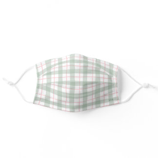 Watercolor Pastel Plaid Personalized Adult Cloth Face Mask