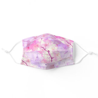 Watercolor pink lavender lilac white orchid floral adult cloth face mask