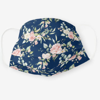 Watercolor Pink Roses Eucalyptus Greenery on Navy Cloth Face Mask