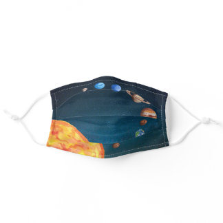 Watercolor Planets Solar System Earth Sun Adult Cloth Face Mask