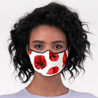 Watercolor poppies. Red flowers pattern. Floral Premium Face Mask