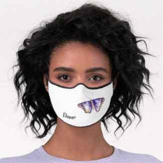 Watercolor Purple Butterfly Personalized Premium Face Mask