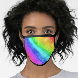 Watercolor rainbow all over face mask