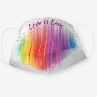 Watercolor Rainbow Love is Love Gold Confetti Dots Cloth Face Mask