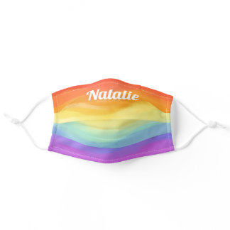 Watercolor Rainbow Stripes Personalized Name Adult Cloth Face Mask