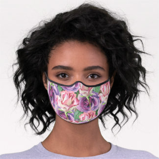 Watercolor Roses Collage Premium Face Mask