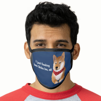 Watercolor Shiba Inu Drawing Funny Quote Navy blue Face Mask