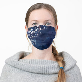 Watercolor Snowdrops Navy/Copper Adult Cloth Face Mask