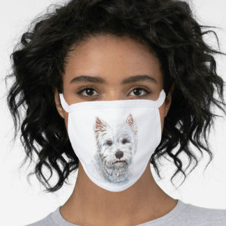 Watercolor West Highland White Terrier Face Mask