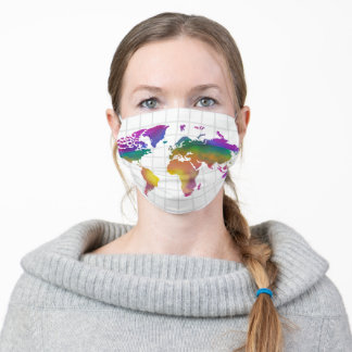 Watercolor World Map Rainbow Adult Cloth Face Mask