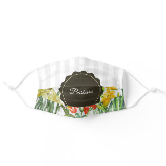 Watercolor Yellow Orange Spring Flowers Adult Cloth Face Mask