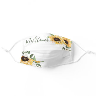 Watercolor Yellow Sunflower Maid of Honor Adult Cloth Face Mask