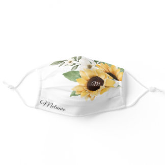 Watercolor Yellow Sunflower Wedding Boutique Name Adult Cloth Face Mask