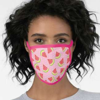 Watermelon Slices on Pink White Dot Pattern Face Mask