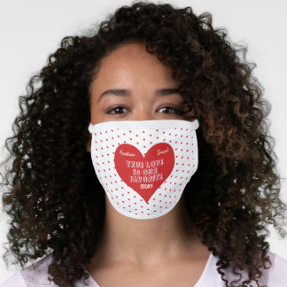 Wedding bride groom wedding party modern red heart face mask