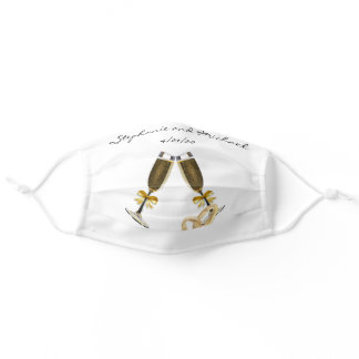 Wedding Champagne Rings Bride Groom Adult Cloth Face Mask