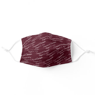 Wedding Couple's Names & Date Burgundy Adult Cloth Face Mask