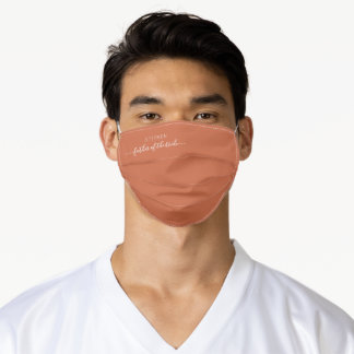 Wedding Father of Bride Script Terracotta  Adult Cloth Face Mask