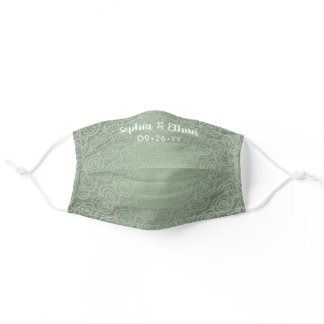 Wedding Favor Floral Pattern Sage Green Names Date Adult Cloth Face Mask