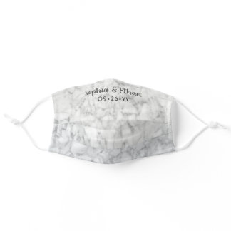 Wedding Favor Marble Pattern Bridal Party Names Adult Cloth Face Mask