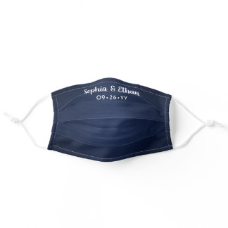 Wedding Favor Navy Blue Heathered Pattern & Names Adult Cloth Face Mask