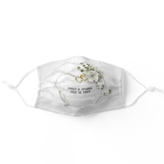 Wedding Heart and Rings on damask Adult Cloth Face Mask
