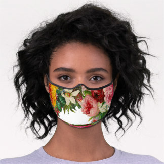 Wedding Roses Red And Pink Premium Face Mask