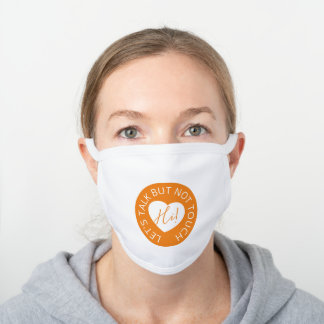 Wedding social distancing guest care amber heart white cotton face mask