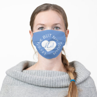 Wedding social distancing guest care blue heart adult cloth face mask