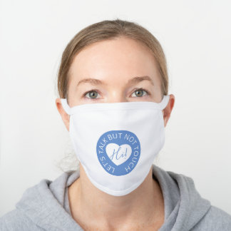 Wedding social distancing guest care blue heart white cotton face mask