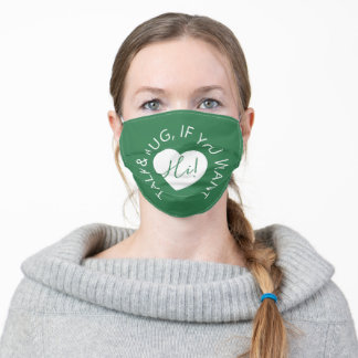 Wedding social distancing guest care green heart adult cloth face mask