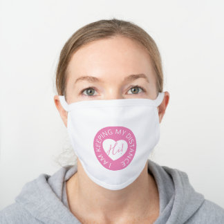 Wedding social distancing guest care pink heart white cotton face mask
