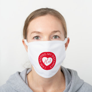 Wedding social distancing guest care red heart white cotton face mask
