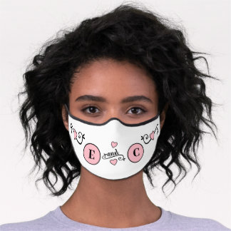 Wedding with initials bride groom white pink premium face mask