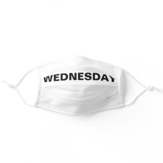 Wednesday Solid Plain Black and White Color Adult Cloth Face Mask