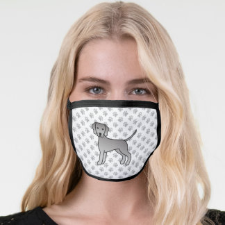Weimaraner Dog Cute Cartoon Illustration & Paws Face Mask