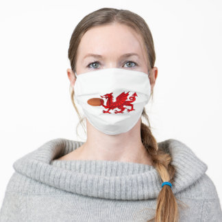 Welsh Dragon Rugby Ball Flag Adult Cloth Face Mask