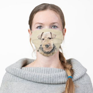 Welsh Terrier Painting - Cute Original Dog Art Adult Cloth Face Mask