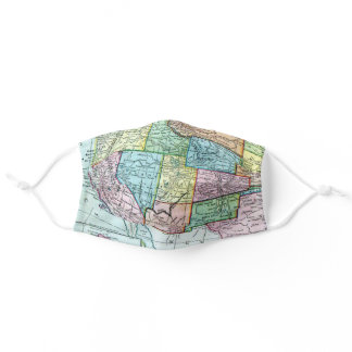 West Coast America Colorful USA Vintage Map Adult Cloth Face Mask