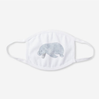 WEST INDIAN MANATEE WHITE COTTON FACE MASK