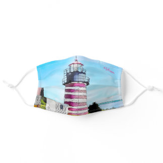 West Quoddy Light Berry Lubec Maine Lighthouse Adult Cloth Face Mask